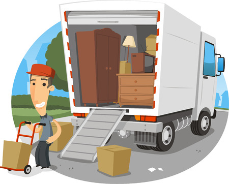 picking up: moving truck cartoon illustration