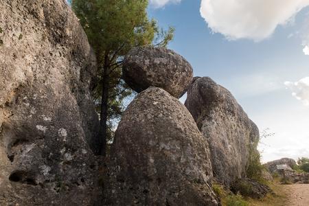 Image of unique rock formations in Enchanted City of Cuenca in Castilla la Mancha, Spain