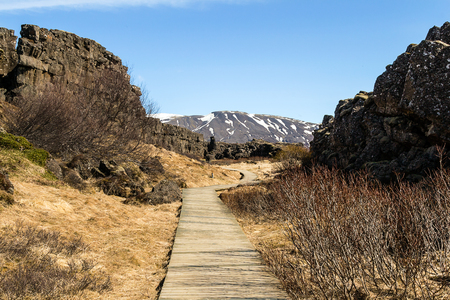 Walk between two continental plates, American and European. Iceland.