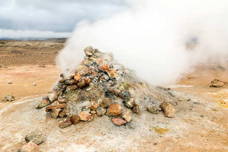 Fumarole in the geothermal area Hverir, Iceland.