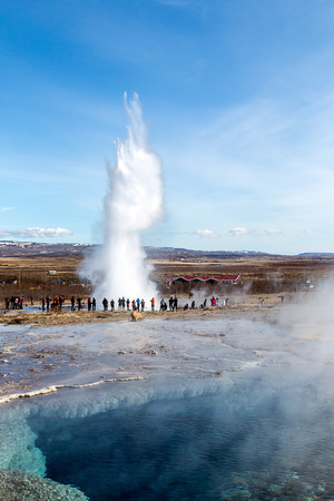 Geysir, the father of the geysers, erupting. Iceland