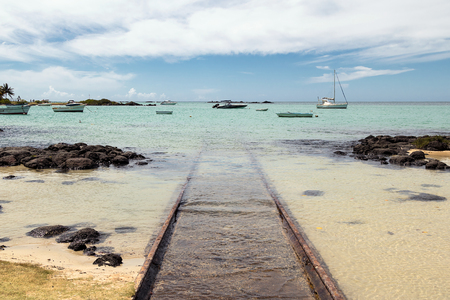Beached ramp on the north coast of Mauritius Stock Photo
