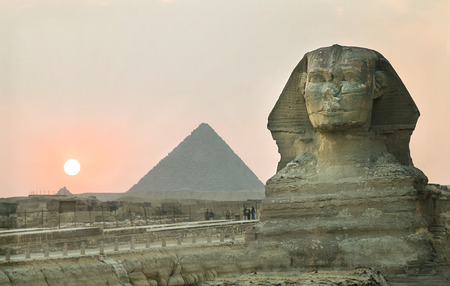 Sunset at the pyramids of Cairo, Egypt