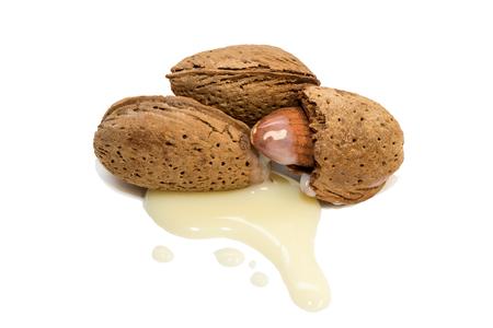Almonds with almond milk Фото со стока