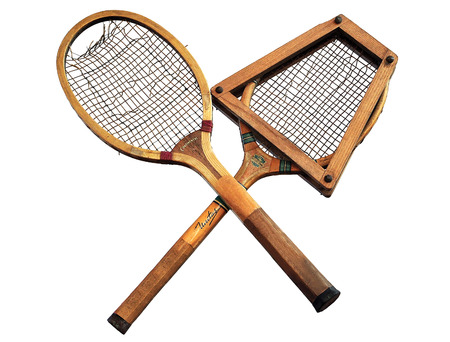 raquet: Old tennis rackets Stock Photo