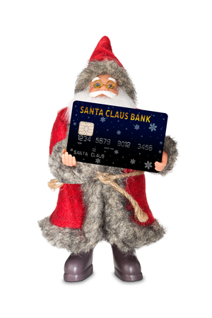christmas debt: Santa Claus with his own credit card with typical illustration credit card number.