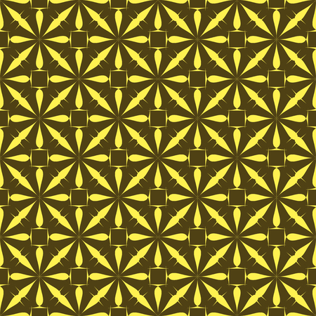 Yellow patterns on a dark mustard background. Yellow floral ornament. Seamless pattern. Graphic vector.