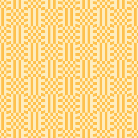 Pattern of cells and lines. Dark yellow patterns on yellow background. Seamless pattern. Abstract vector background. Illustration