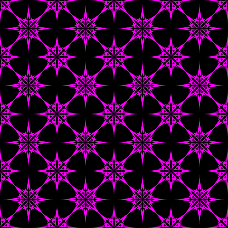 Lilac stars on black background. Seamless pattern. Abstract.