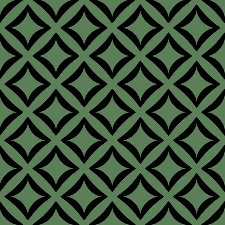 Black pattern on green seamless vector background.