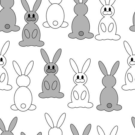 silhouette lapin: Mignons lapins peu  Illustration