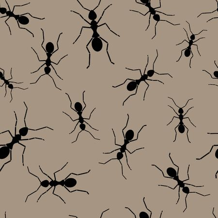 turmoil: Seamless wallpaper with black ants Illustration