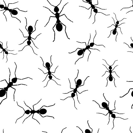 Seamless wallpaper with black ants Vector