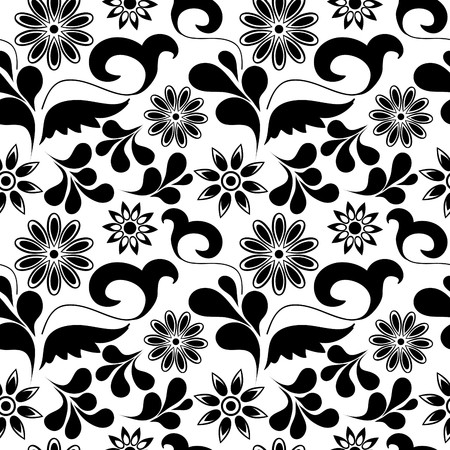 uncolored: Seamless background with art flowers