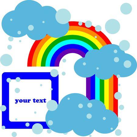 Clouds and rainbow cartoon card Stock Vector - 7936663