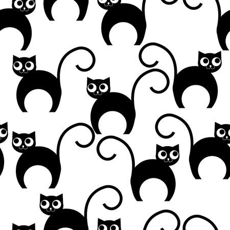Seamless Wallpaper With Cartoon Cats Royalty Free Cliparts Vectors