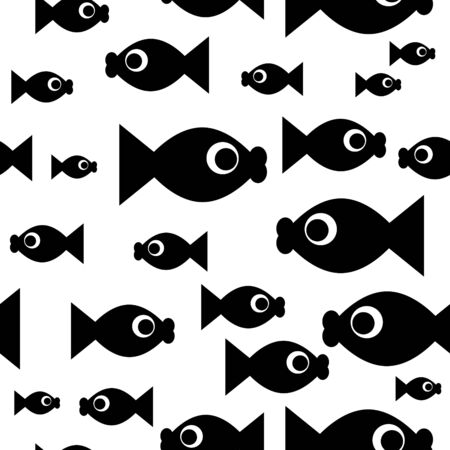 Seamless wallpaper with cartoon fishes