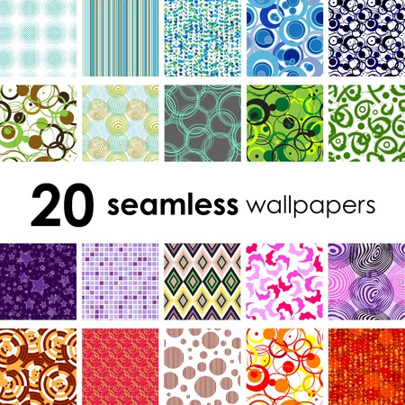 20 seamless wallpaper. Golden collections. Vector