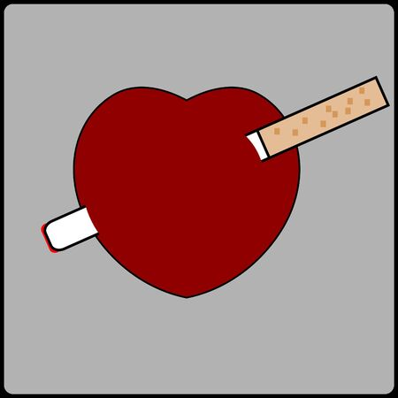 banner with heart&cigarette