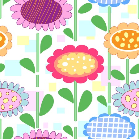 Seamless cartoon background with art flowers