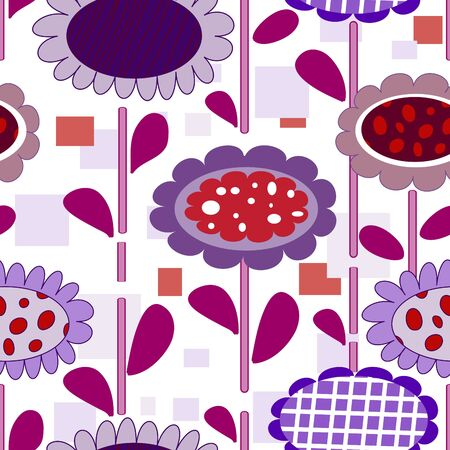 violet red: Seamless cartoon background with art flowers