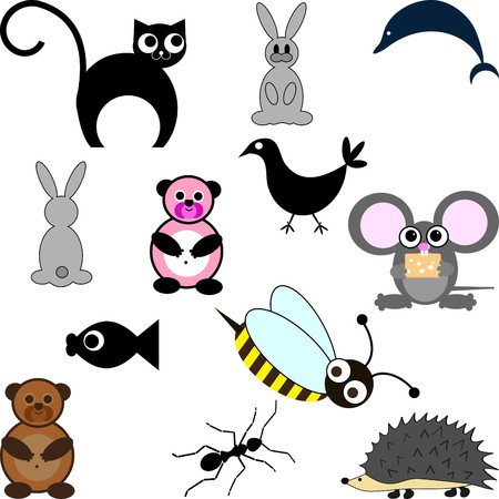 Cute little cartoon figure set Vector