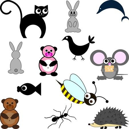 textile care symbol: Cute little cartoon figure set Illustration
