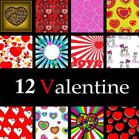 Seamless and Card Valentine collection. Volume 2. Vector