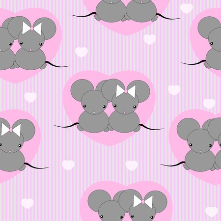 Cute little mouses with hearts Stock Vector - 8632769