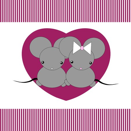 Cute little mouses in hearts Vector