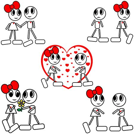 Abstract valentine background with cartoon figure