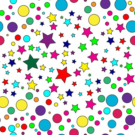 Seamless vector texture with stars and circles Vettoriali