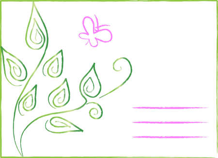 Abstract  background with leaf and butterfly Vector
