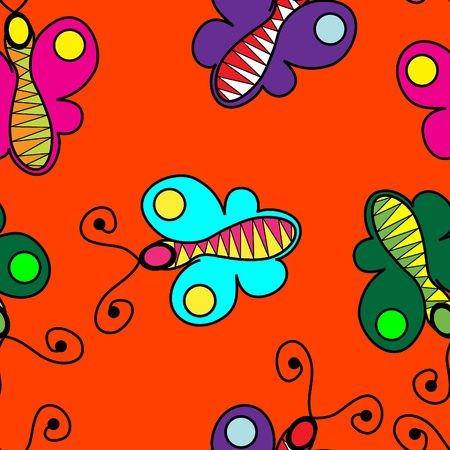 Vivid seamless butterfly background Vector