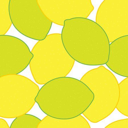 lemon lime: Vector seamless citrus background Illustration