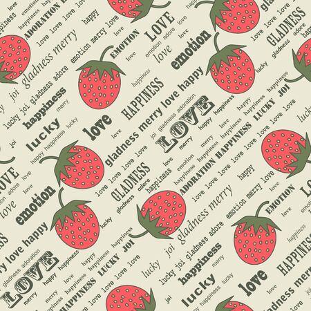 Retro valentine background with strawberries Stock Vector - 9320103