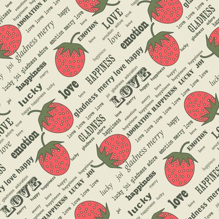gray pattern: Retro valentine background with strawberries