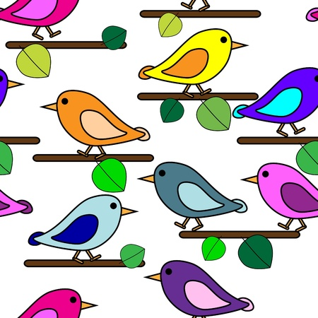 bird drawing: Seamless modern art pattern with bird