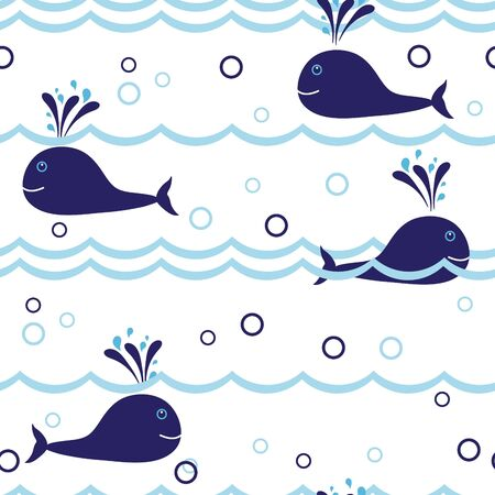 Seamless vector background with whales Stock Vector - 9718712