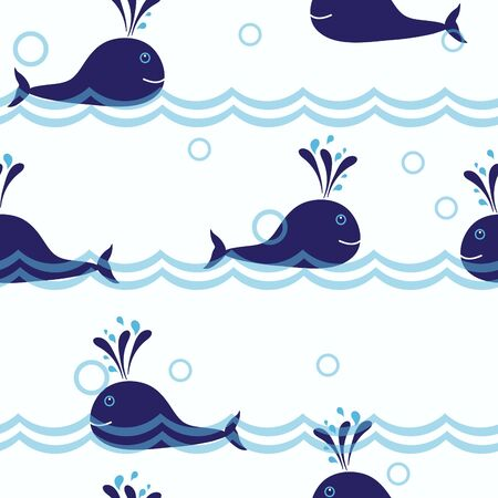 Seamless vector background with whales