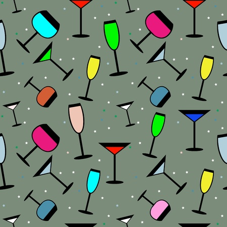 abstract vivid party seamless with glasses Stock Vector - 10336006