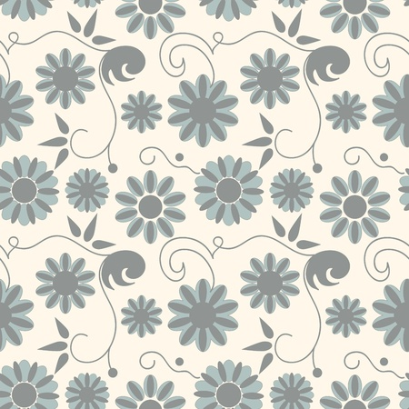 Seamless background with art flowers Vector