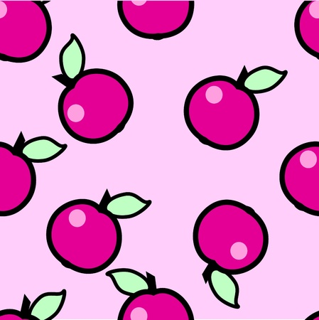 Simple seamless pink apples background Stock Vector - 10336000