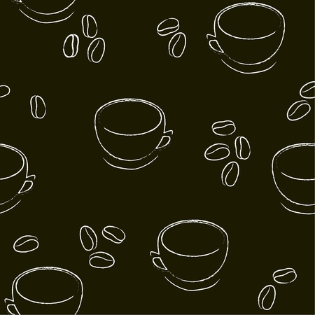 madras: Seamless background with cups and coffee Illustration