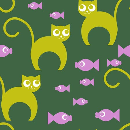 abstract seamless background with cat and fish