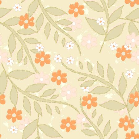 Seamless background with art flowers