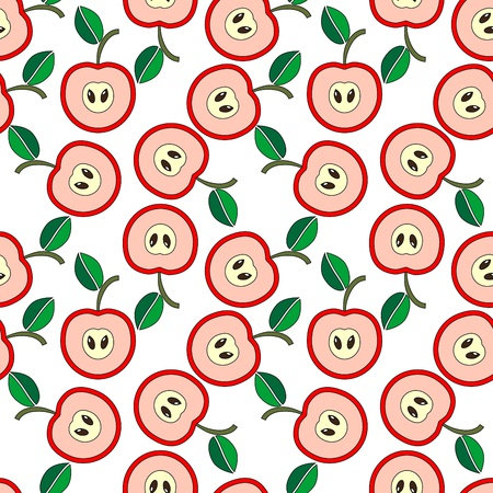 Simple seamless pink apples background Illustration