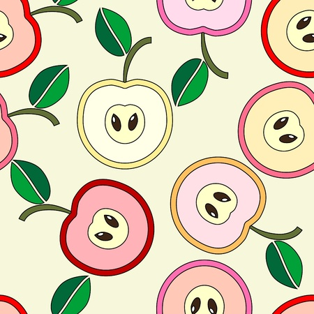 Simple seamless pink apples background Stock Vector - 10849239
