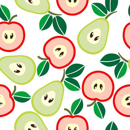 Simple seamless apples and pears background Vector