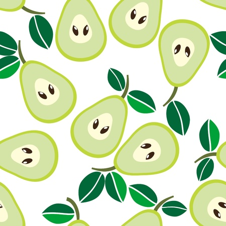 Simple seamless green pears background Vector